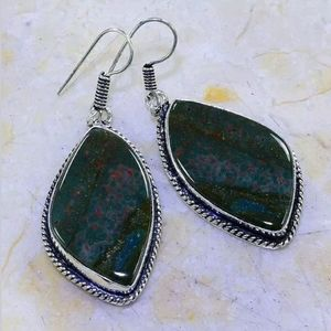 Blood Stone Handcrafted 925SS Earrings